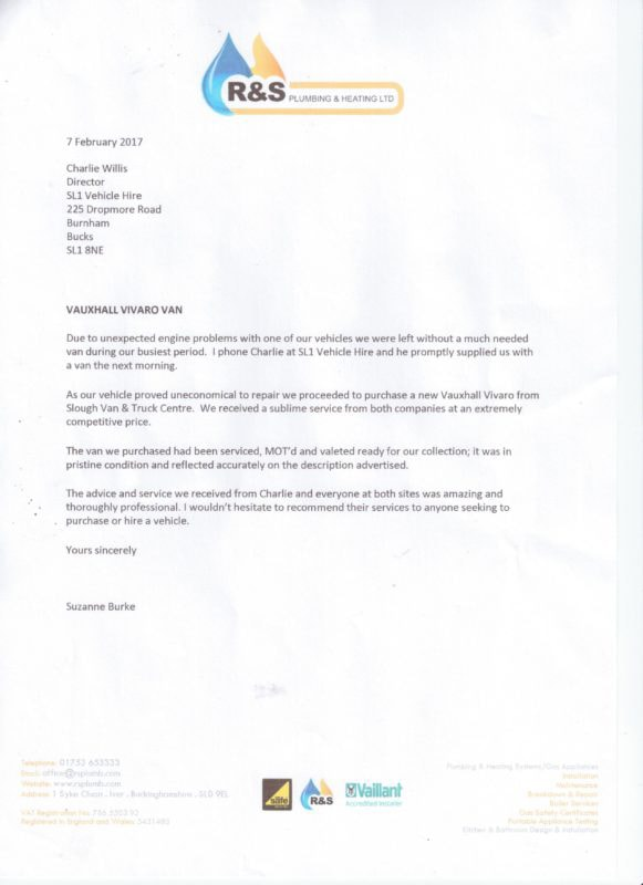 Testimonial Letter R&S